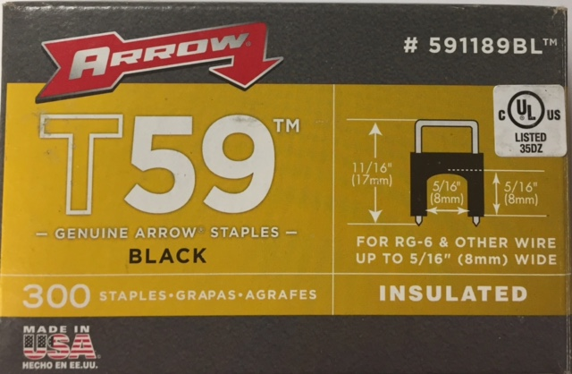 photo of ARROW T59 STAPLES, BLACK, INSULATED, PACK OF 300