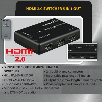 photo of HDMI 5x1 Switch Maestro