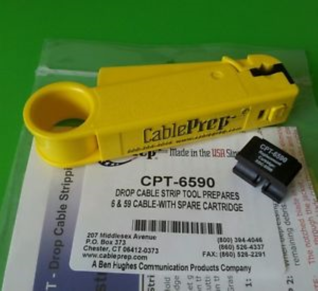 photo of STRIP TOOL FOR RG6 & RG59 WITH SPARE CARTRIDGE, CABLE PREP  CPT-6590