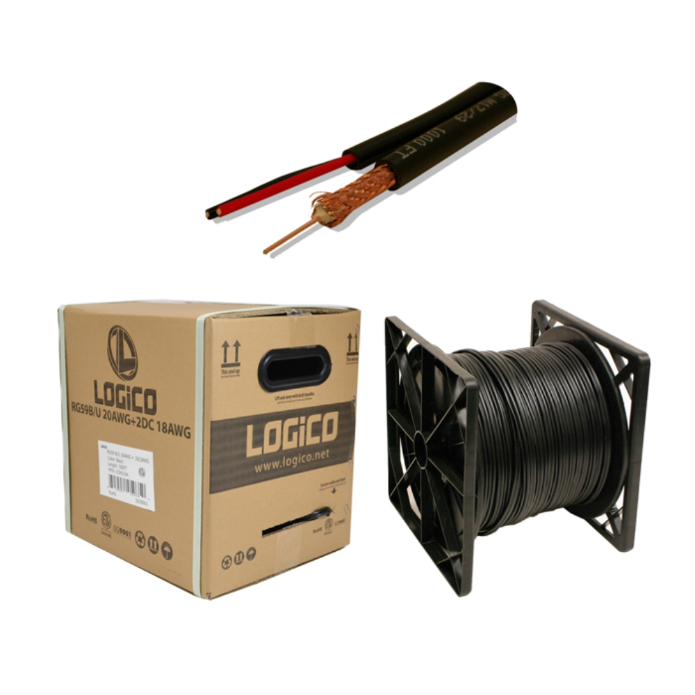 photo of LOGICO SIAMESE RG59 BLACK 500 FT REEL IN BOX