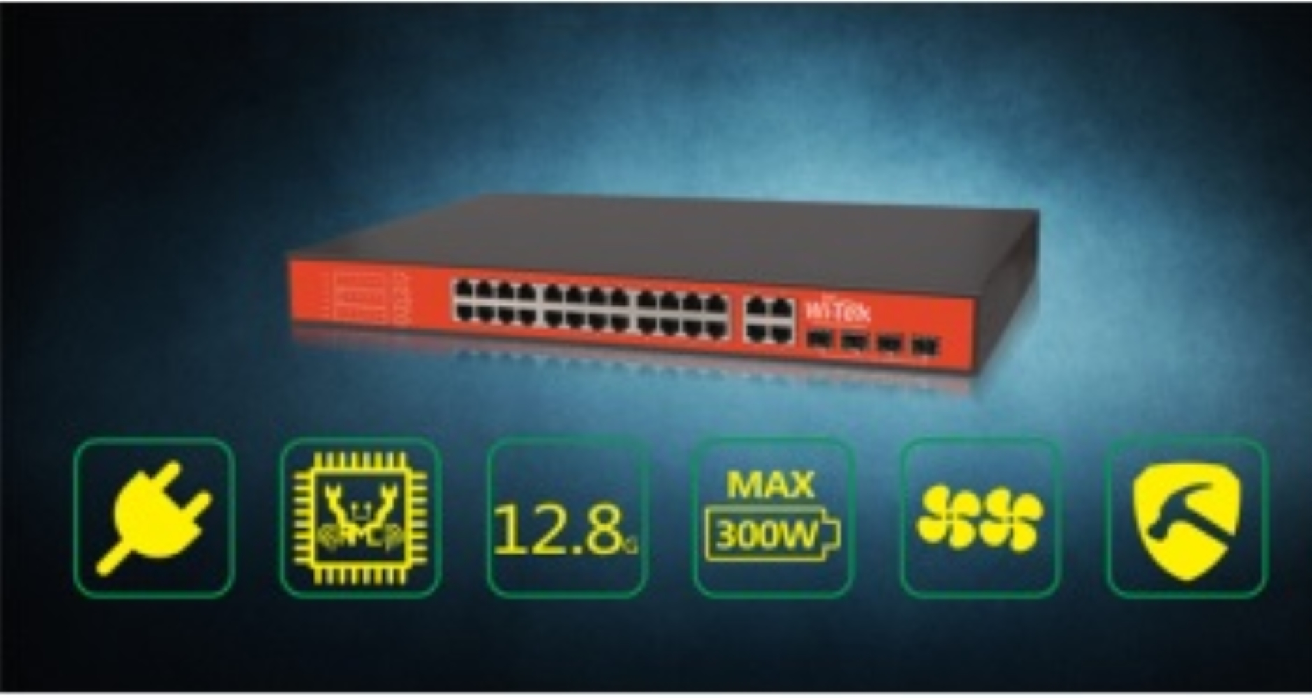 photo of WI-TEK 24FE+4Combo Gigabit 48V Ports PoE Switch with 24-Port PoE
