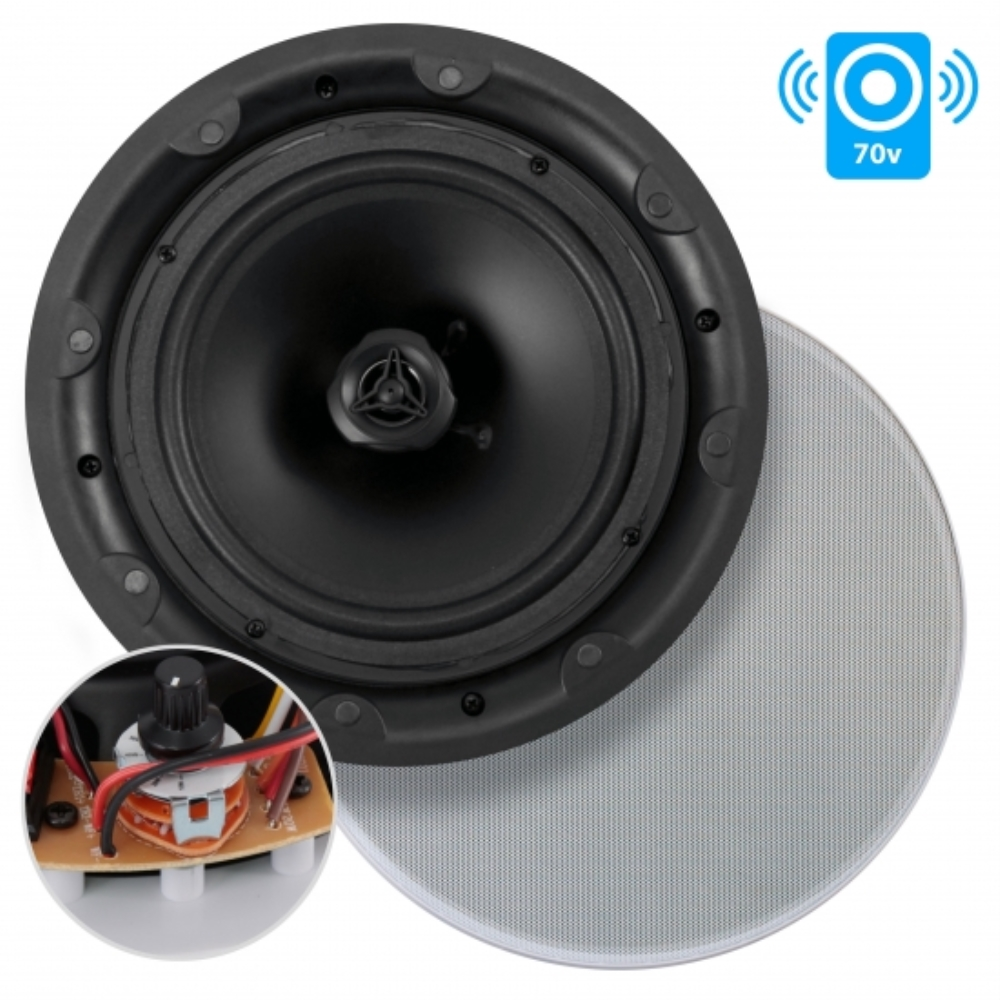 photo of 6.5'' In-Wall / In-Ceiling 70V Speaker - Flush Mount Low-Profile Speaker with 70 Volt Transformer, Magnetic Grill (500 Watt)